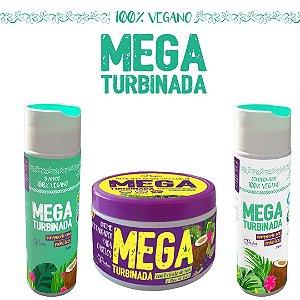 Kit Mega Turbinada Restauração Capilar Vegana- 3 Produtos (Shampoo 250ml, Condicionador 250ml e Máscara restauradora efeito teia 250g)