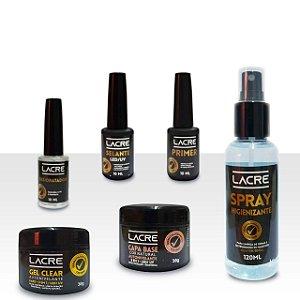Kit gel para alongamento de unha Lacre - 6 produtos - Capa Base + Clear