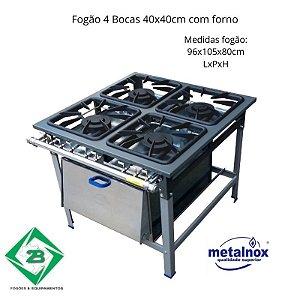 Fogão 4 Bocas 40x40 Com Forno Metalnox