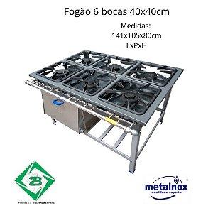 Fogão 06 Bocas 40x40cm Metalnox