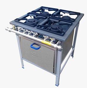 Fogão industria de 4 bocas com forno Metalnox