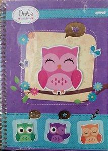 Caderno capa dura  universal Corujinhas Lilás -  96 folhas