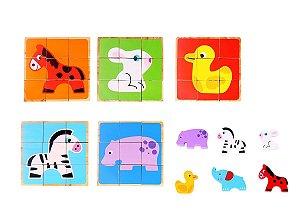 Quebra Cabeças em Blocos - Animais - Tooky Toy