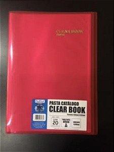 Pasta Catálogo Clearbook PlastPark com 20 envelopes plásticos - vermelho