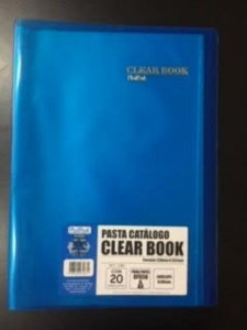 Pasta Catálogo Clearbook PlastPark com 20 envelopes plásticos - azul