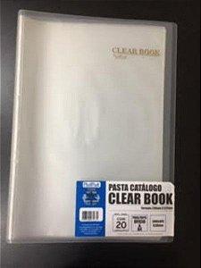 Pasta Catálogo Clearbook PlastPark com 20 envelopes plásticos - transparente