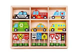 Carrinhos e Placas de Trânsito - Tooky Toy