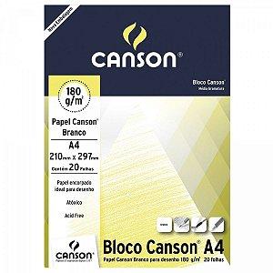 BLOCO ESTUDANTE DESENHO A4 180GR BRANCO - Canson