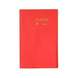 Pasta Catálogo Clearbook Yes com 10 envelopes plásticos - vermelho