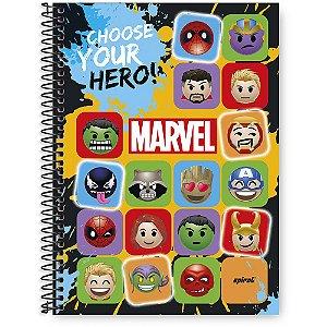 Caderno universitário capa dura 96 fls Marvel Emoji Spiral