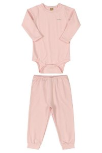 Pijama Body e Calça Malha Energy Thermo Rosa Claro Up Baby