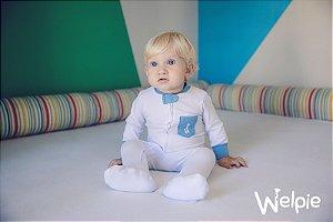 Macacão Branco Bolso Jeans Welpie