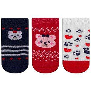 Meia Fun Socks Bebê 3 pares Urso Winston