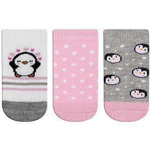 Meia Fun Socks Bebê 3 pares Pinguim Winston