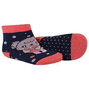 Meia Comfort Socks Antiderrapante Feminino Rosa e Marinho