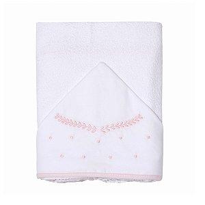 Toalha de Banho Felpuda c/ Capuz Bordado Clássico Rosa Papi