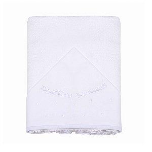 Toalha de Banho Felpuda c/ Capuz Bordado Clássico Branco Papi