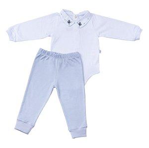 Conjunto Body e Calca Luxo Menino Azul Claro D`bella for Baby