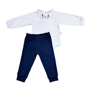 Conjunto Body e Calca Luxo Menino Marinho D`bella for Baby