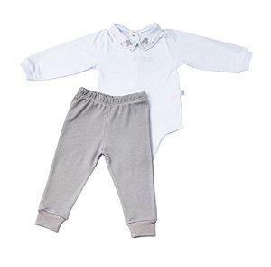Conjunto Body e Calca Luxo Menino Cinza D`bella for Baby