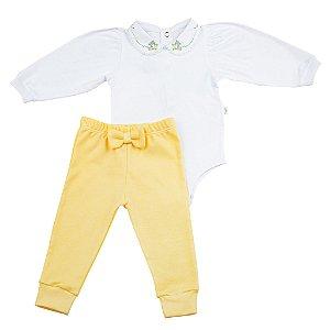 Conjunto Body e Calca Luxo Menina Amarelo D`bella for Baby
