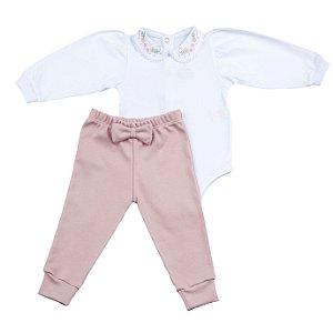 Conjunto Body e Calca Luxo Menina Rosê D`bella for Baby