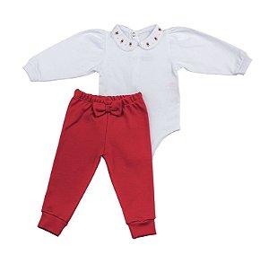 Conjunto Body e Calca Luxo Menina Vermelho D`bella for Baby