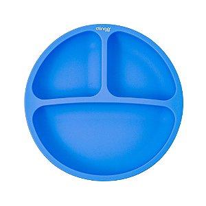 Prato de Silicone com Divisórias Azul - Clingo