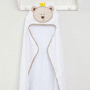 Toalha de Banho Soft c/ Capuz Bordado 90x75cm Urso Bege  Papi