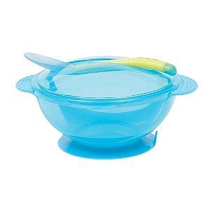 Kit Alimentação Prato Bowl com Tampa e Colher Azul Buba
