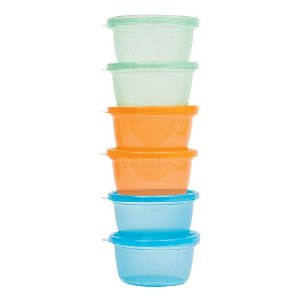 Kit Potinhos para Papinha 6 unidades Azul, Verde e Laranja - Buba