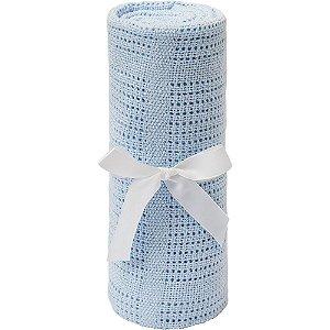 Mantinha Tricô Baby - Azul Buba