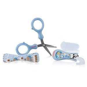 Kit Manicure Infantil 4 peças Azul Nuby