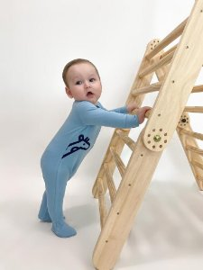Macacão Azul Bebê Estampa Gigi Lateral Marinho Welpie
