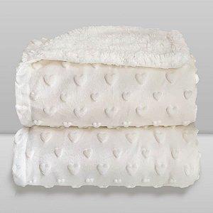 Cobertor Infantil 0,90X1,10 Sherpa Hearts Branco