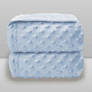 Cobertor Infantil 0,90X1,10 Dots Liso Azul Bebê