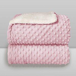 Cobertor Infantil 0,90X1,10 Sherpa Dots Rosa Bebê