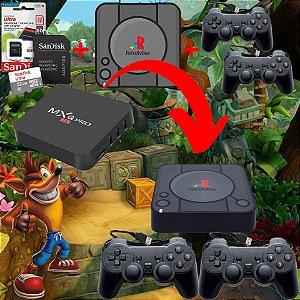 Kit Para Tv Box Placa AllWinner H3 EmuELEC Adesivo PS + 2 Controles PS + Cartão 32gb