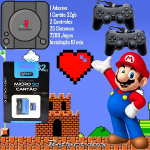 Kit Para Tv Box Placa Amlogic S905W EmuELEC Adesivo PS + 2 Controles PS + Cartão 32gb