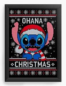 Quadro Decorativo A4 (33X24) Geekz Stitch Ohana - Loja Nerd e Geek - Presentes Criativos