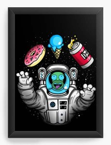 Quadro Decorativo A4 (33X24) Geekz Homer Simpsons Space - Loja Nerd e Geek - Presentes Criativos