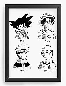 Quadro Decorativo A4 (33X24) Geekz Naruto e Dragon Ball - Loja Nerd e Geek - Presentes Criativos