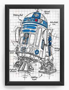 Quadro Decorativo A4 (33X24) Geekz R2D2 Space Wars - Loja Nerd e Geek - Presentes Criativos