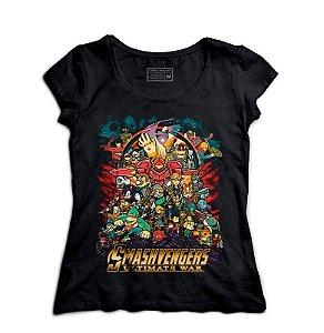 Camiseta Feminina Smash Avengers - Loja Nerd e Geek - Presentes Criativos