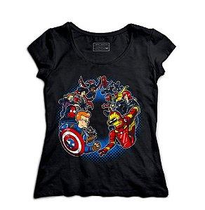 Camiseta Feminina Avengers Civil - Loja Nerd e Geek - Presentes Criativos