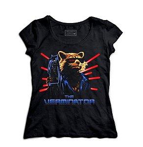 Camiseta Feminina Rocket Raccoon - Loja Nerd e Geek - Presentes Criativos