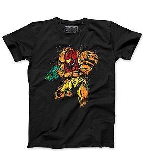 Camiseta Masculina Samus Aran - Loja Nerd e Geek - Presentes Criativos