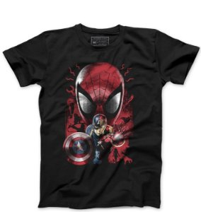Camiseta Masculina Spider Herois - Loja Nerd e Geek - Presentes Criativos