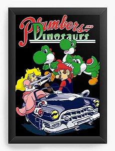 Quadro Decorativo A4 (33X24) Geekz Super Plumber Dinosaurs - Loja Nerd e Geek - Presentes Criativos