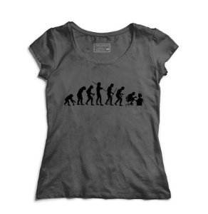 Camiseta Feminina Evolution Geek - Loja Nerd e Geek - Presentes Criativos